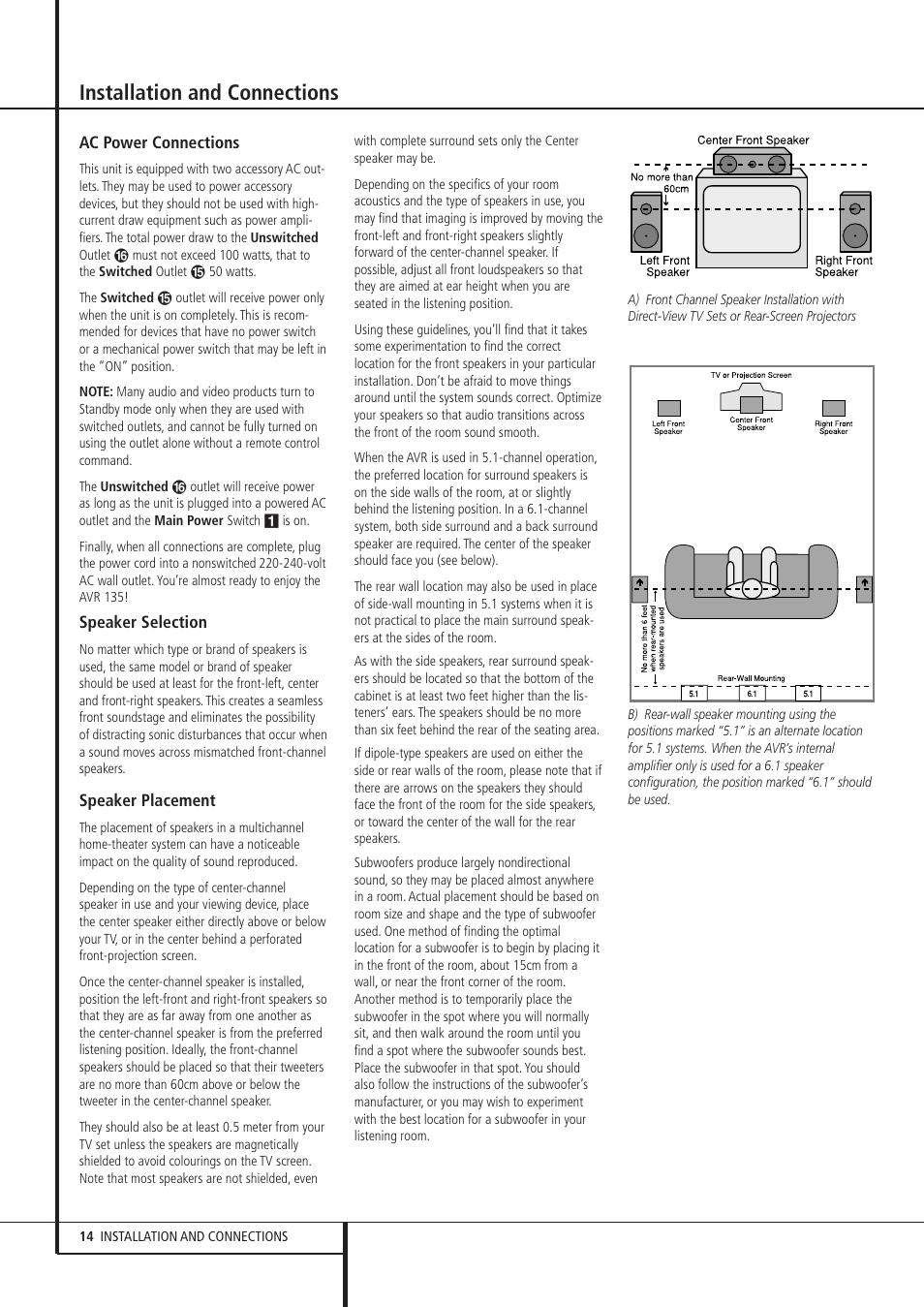 installation and connections harman kardon avr 135 user manual rh manualsdir com