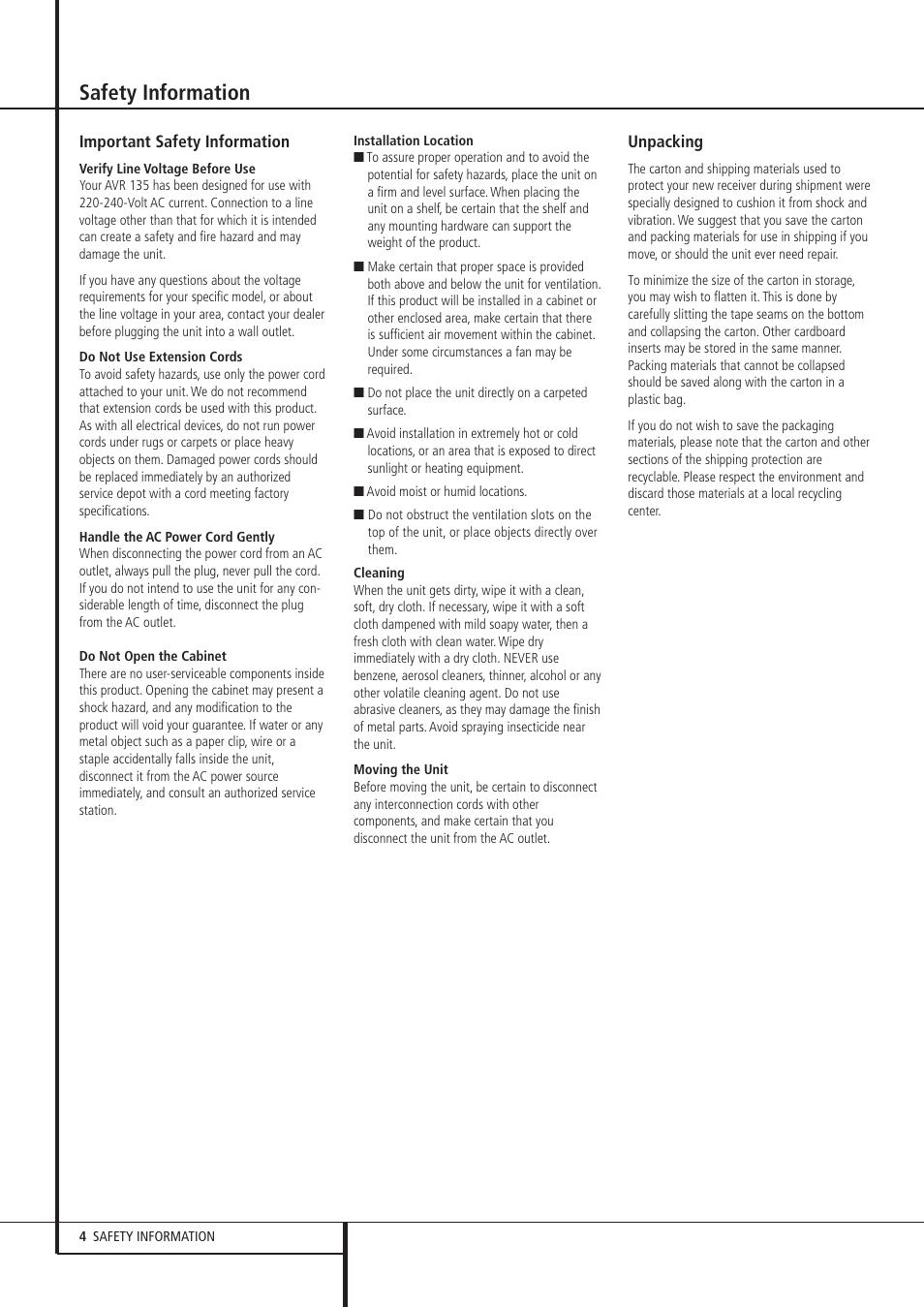 safety information harman kardon avr 135 user manual page 4 42 rh manualsdir com