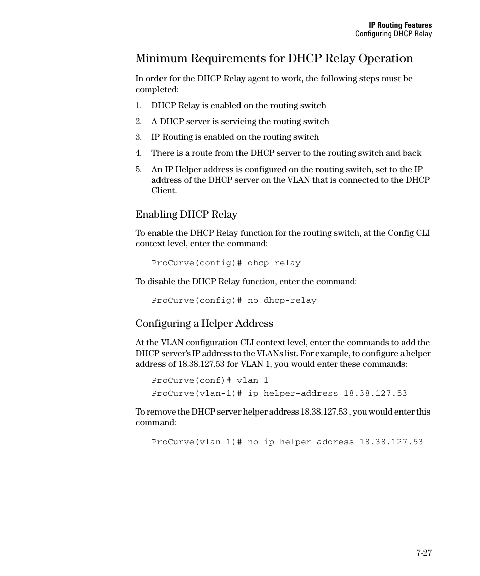 Minimum requirements for dhcp relay operation, Enabling dhcp