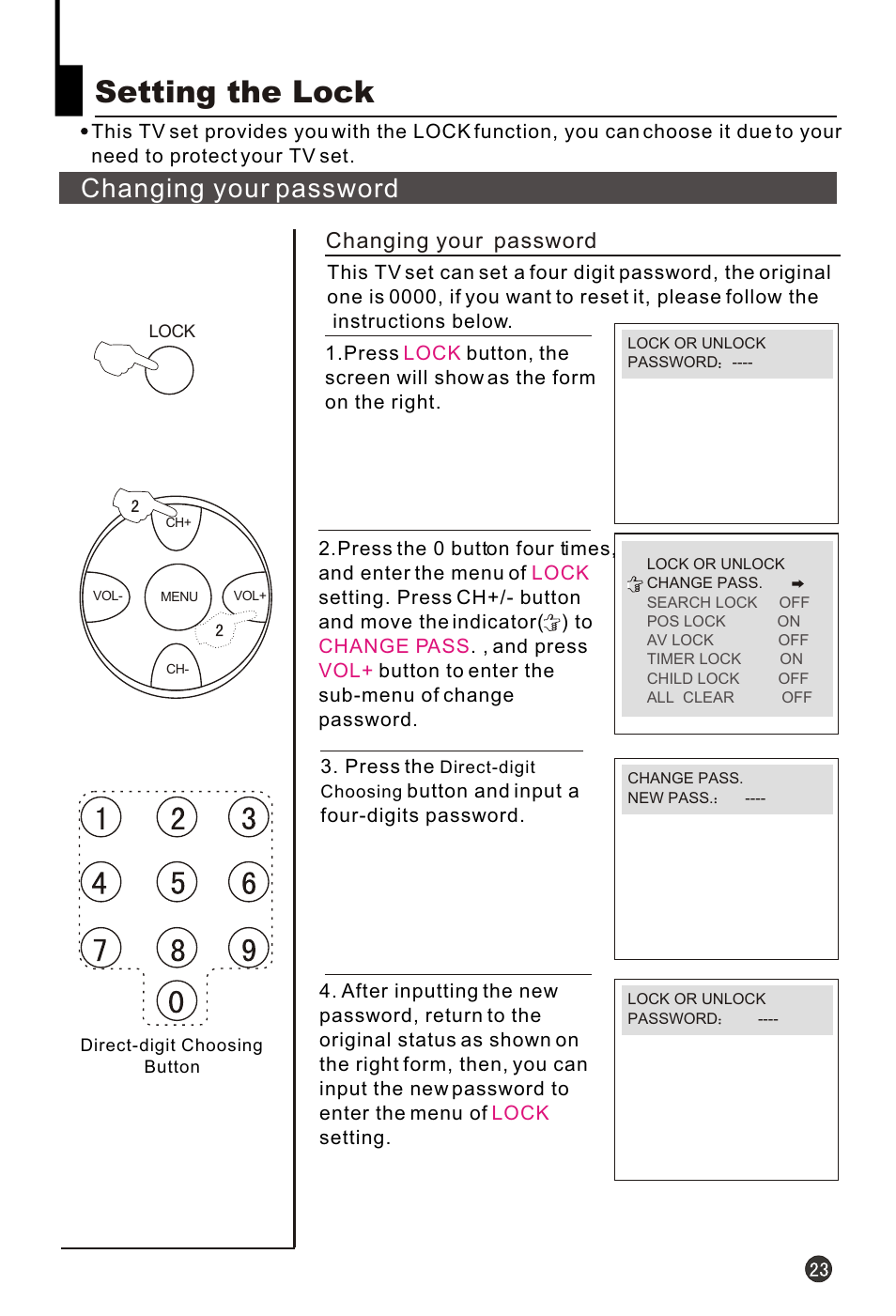 Т³гж 25, Setting the lock, Changing your password | haier HT-3768