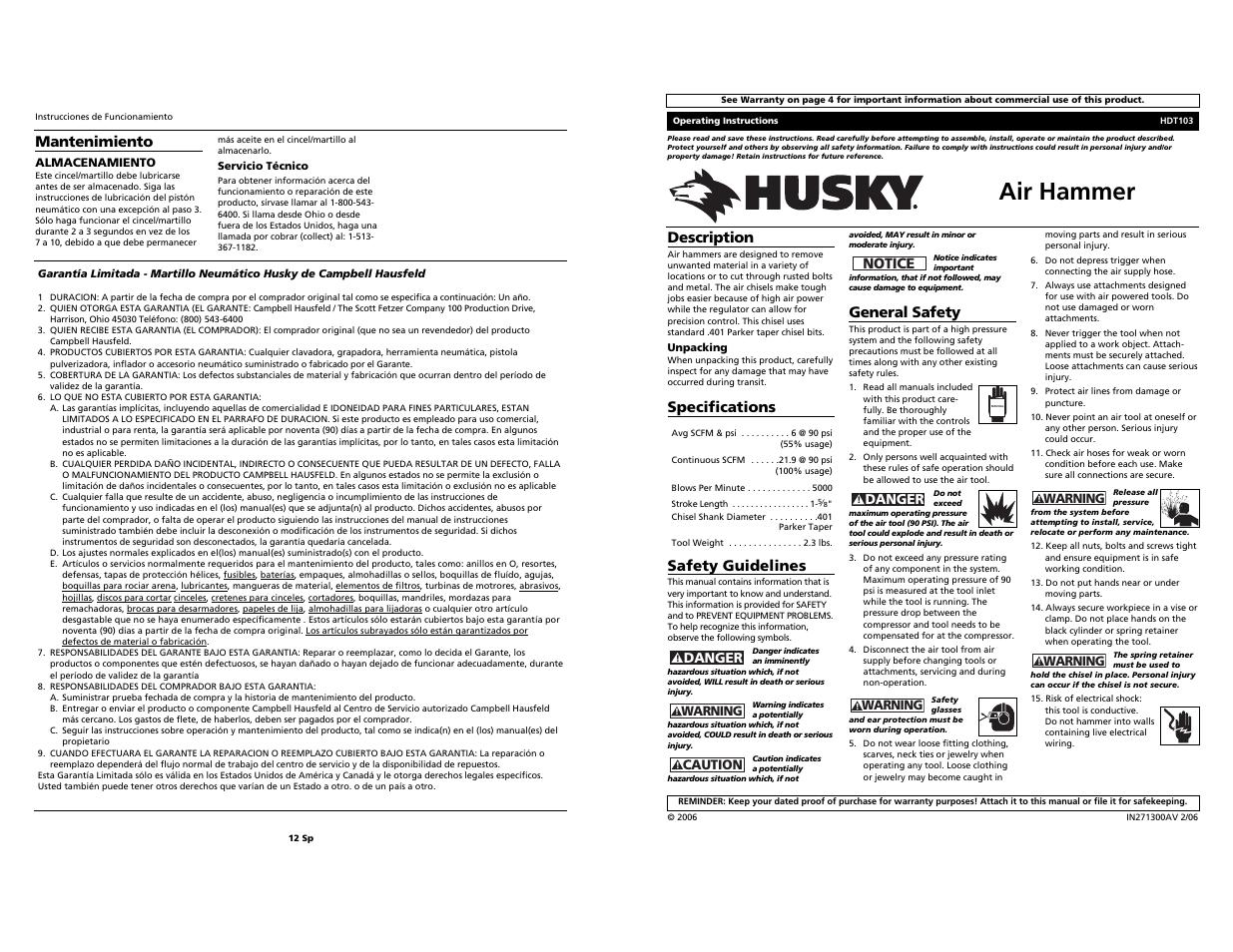 Husky 5000 Manual Lexus Rx300 O2 Sensor Location Likewise Ford Escape Bank 2 1 Array Hdt103 User 6 Pages Original Mode Rh Manualsdir Com