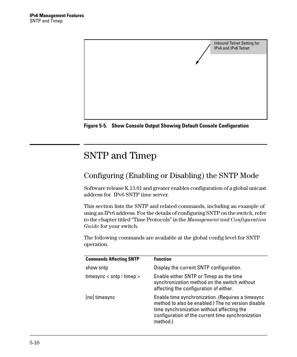 Sntp and timep, Configuring (enabling or disabling) the sntp