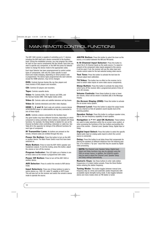 main remote control functions harman kardon avr 1600 user manual rh manualsdir com harman kardon avr 1600 manual español harman kardon avr 1600 user manual