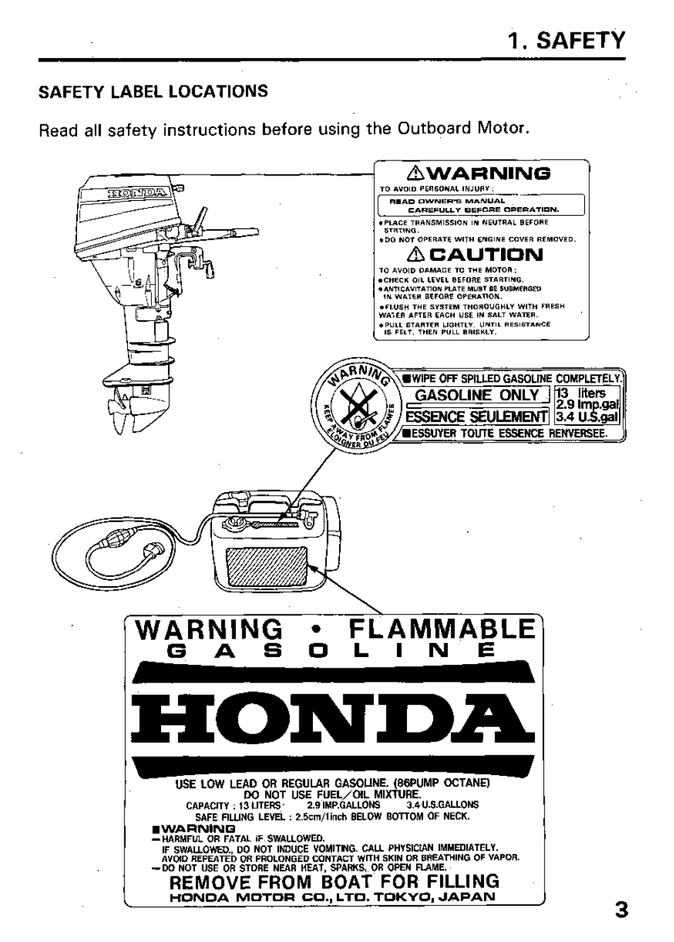 Safety | HONDA Outboard Motor BF15A User Manual | Page 5 / 81
