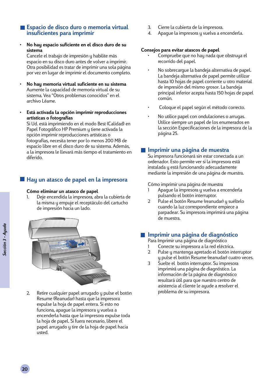 Hay un atasco de papel en la impresora, Imprimir una página de ...