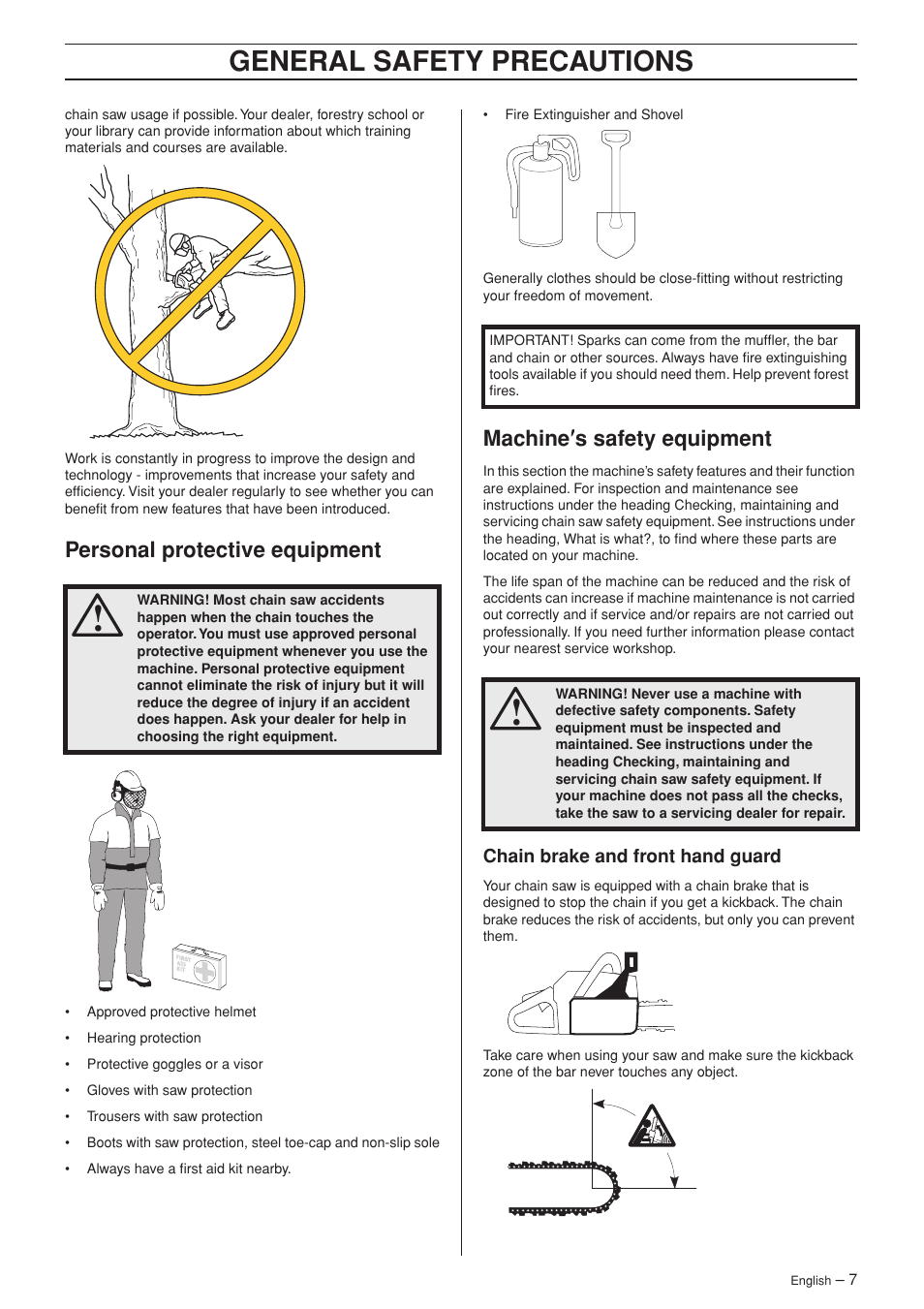 Personal protective equipment, Machine¢s safety equipment, Chain brake and  front hand guard | Husqvarna 385XP User Manual | Page 7 / 44