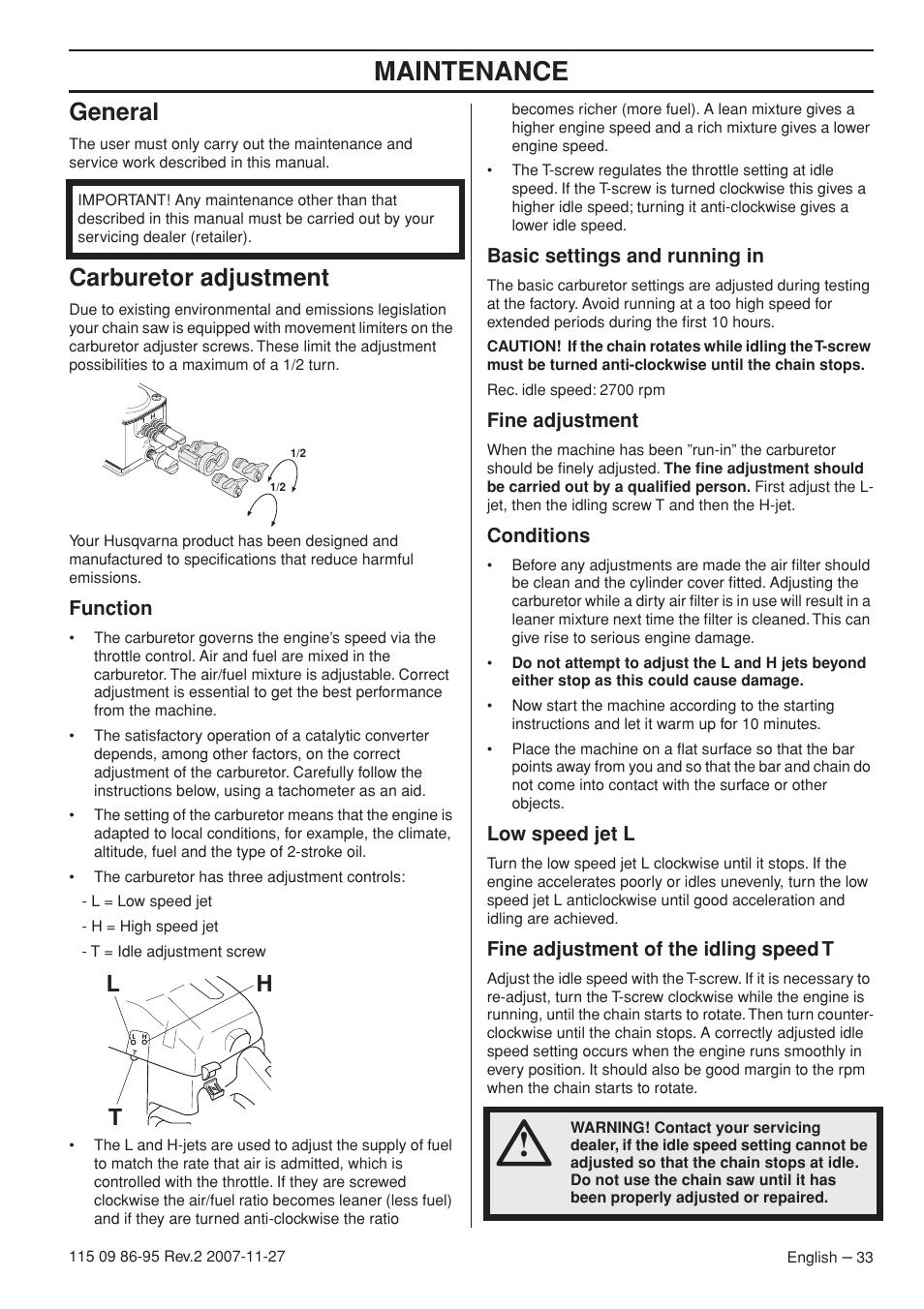 General, Carburetor adjustment, Function | Husqvarna 350 epa I User Manual  | Page 33 / 48