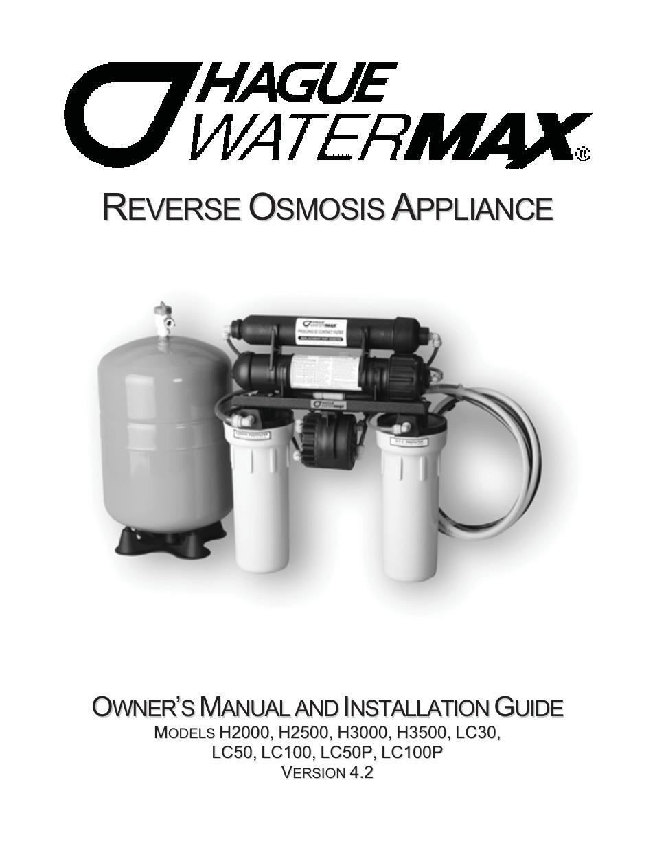 Hague Quality Water Intl Watermax Lc100p User Manual Manual Guide