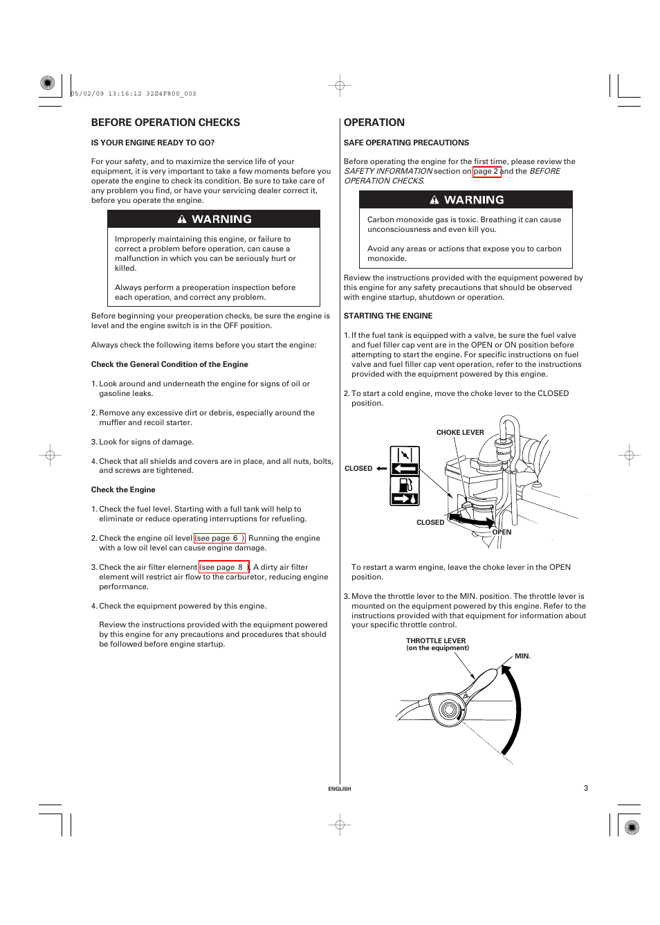 Before operation checks, Is your engine ready to go, Operation | HONDA GX160  User Manual | Page 3 / 43