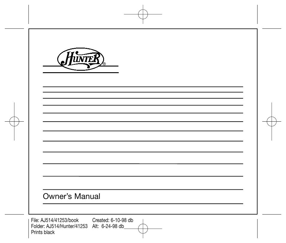 hunter fan 44250 user manual 34 pages rh manualsdir com Hunter Programmable Thermostat Manuals 44550 Hunter Thermostat 42999B Manual