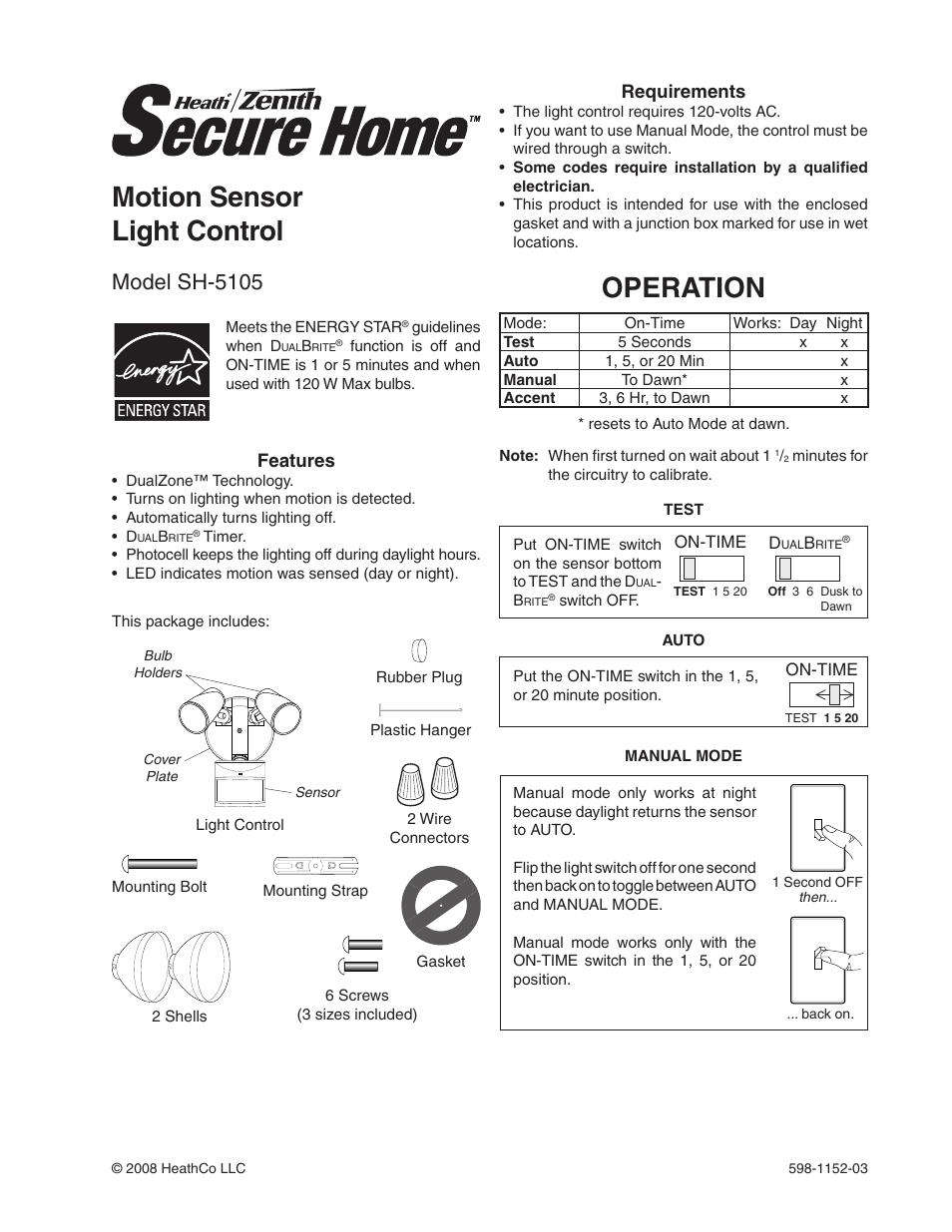 Heath Zenith Motion Sensor Light Control Sh 5105 User Manual 20 Pages