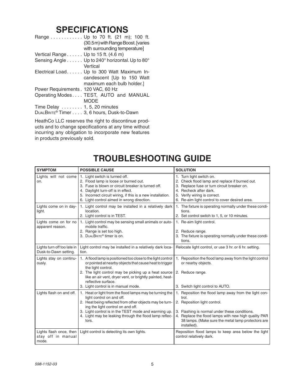 Specifications Troubleshooting Guide Heath Zenith
