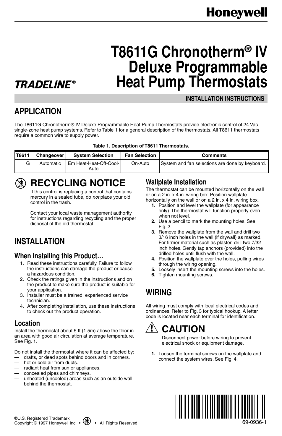 Honeywell T8611g Thermostat Wiring Diagram Portal T8011r User Manual Product Guide Chronotherm Iv 12 Pages Rh Manualsdir Com Heat Pump