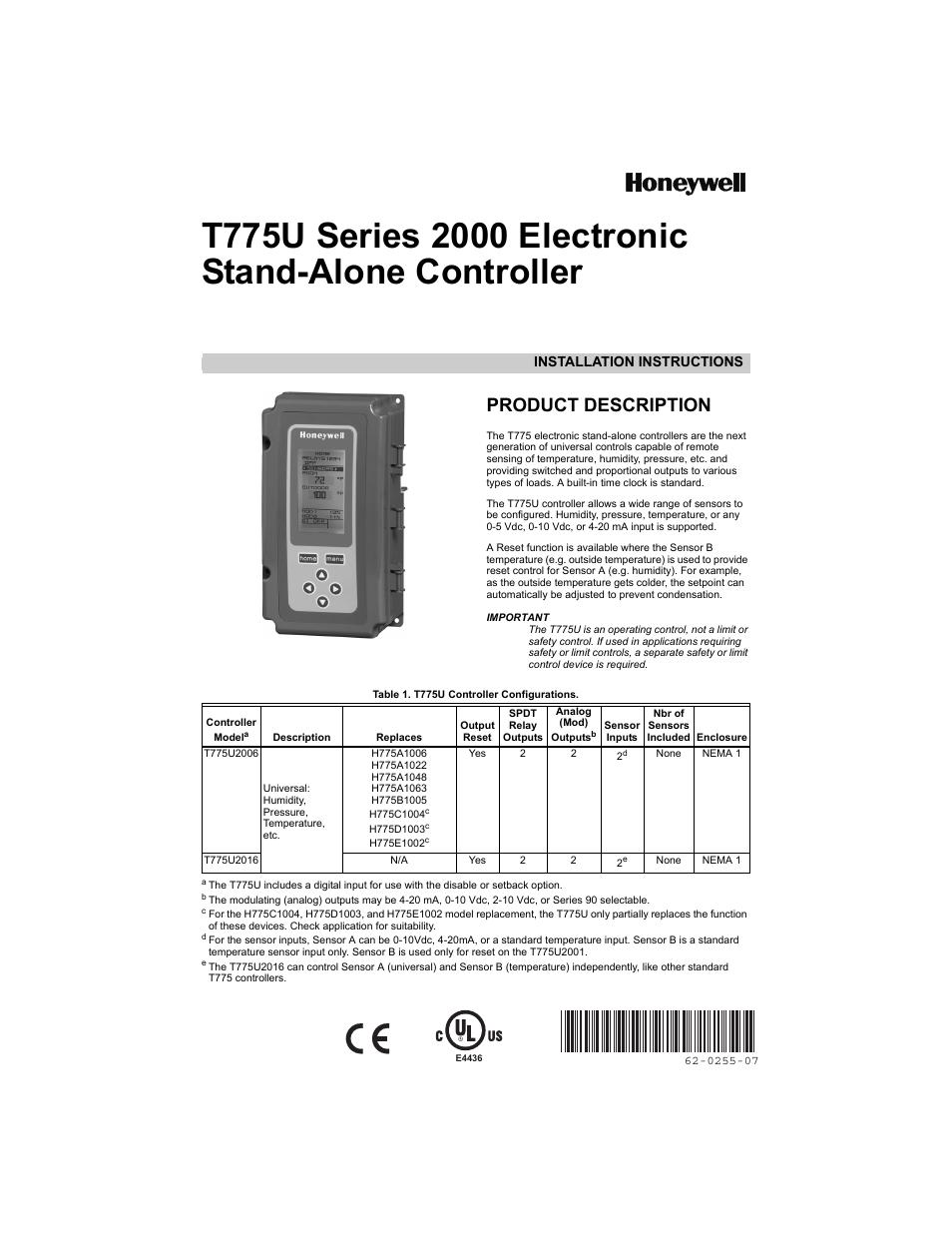 honeywell t775u user manual 40 pages Honeywell VAV Controller honeywell t775 controller installation manual