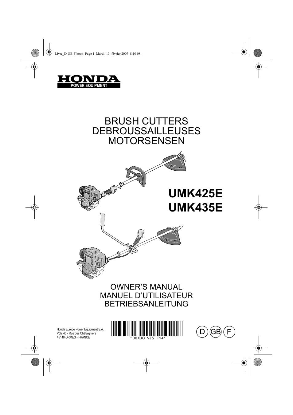 honda umk435e user manual 67 pages also for umk425e rh manualsdir com Honda Manual Book honda umk425e strimmer manual
