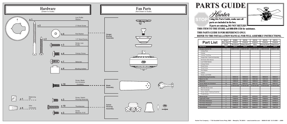 Hunter Fan Ceiling Fan Parts 28609a User Manual 2 Pages