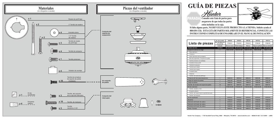 Guía de piezas, Piezas del ventilador, Materiales | Hunter Fan