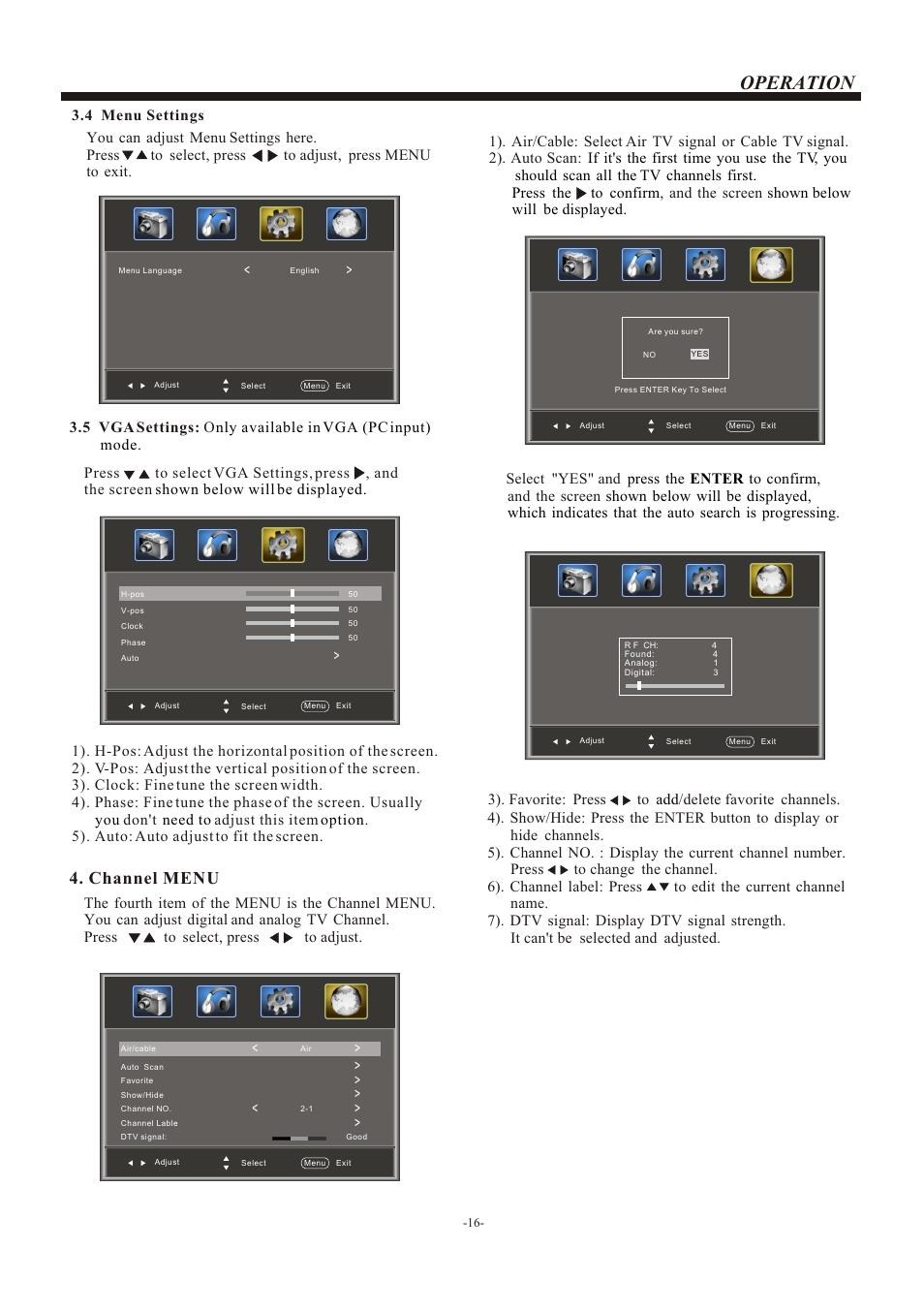 Т³гж 17, Operation, Channel menu | haier L22B1120 User Manual | Page