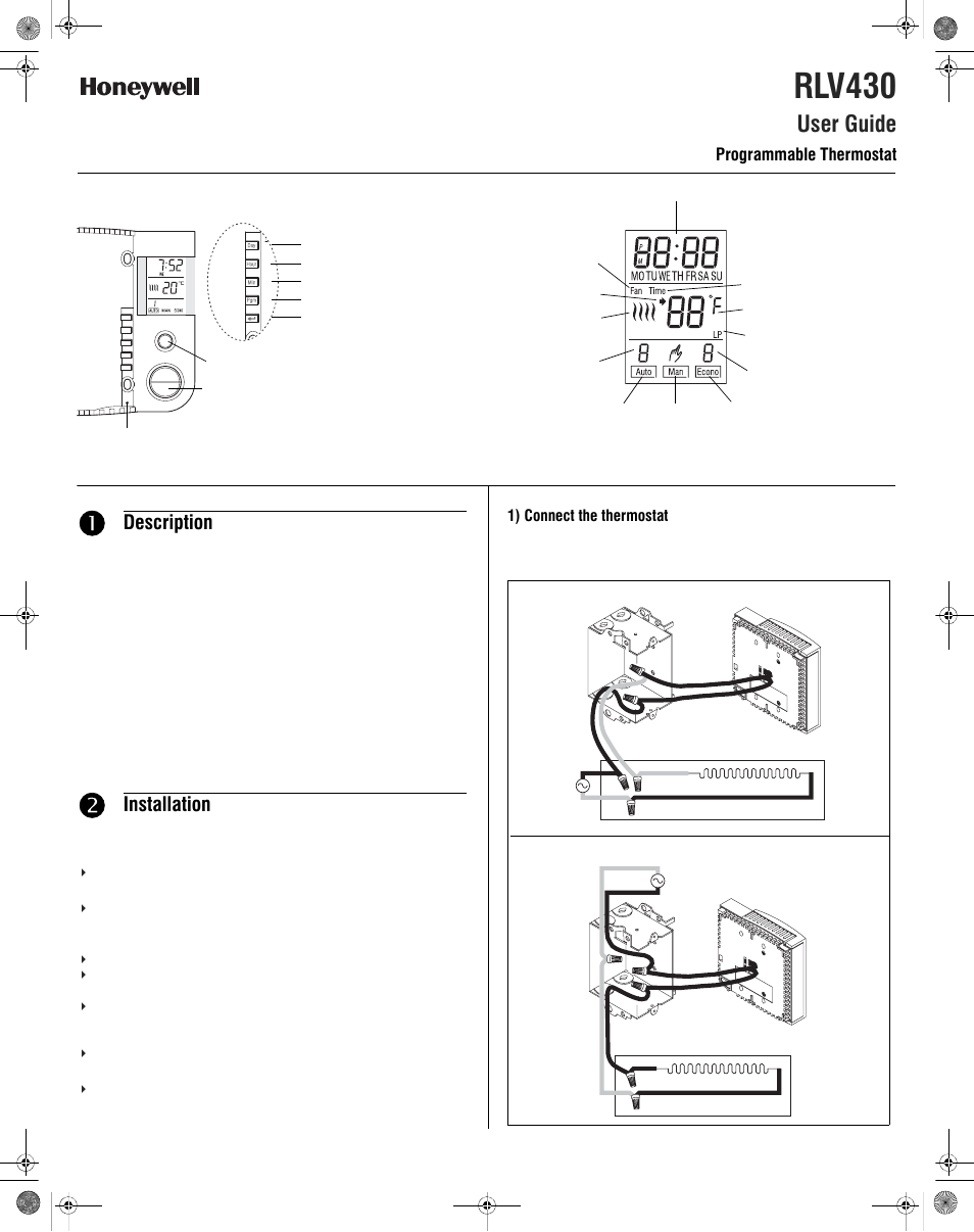 Honeywell Rlv430 User Manual 4 Pages Wire Thermostat Wiring Diagram