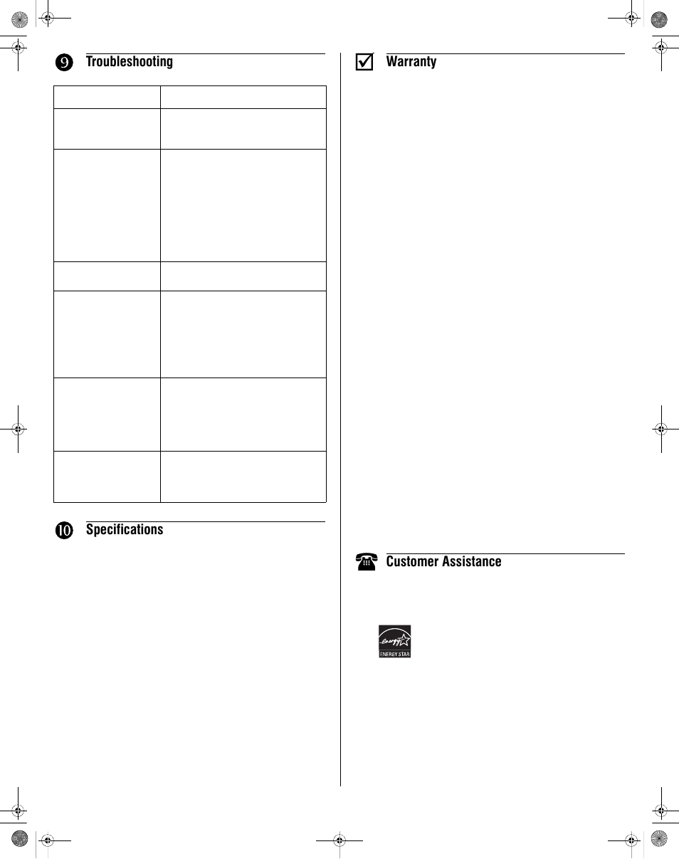 Troubleshooting, Specifications, Warranty | Honeywell RLV430 User Manual |  Page 4 / 4