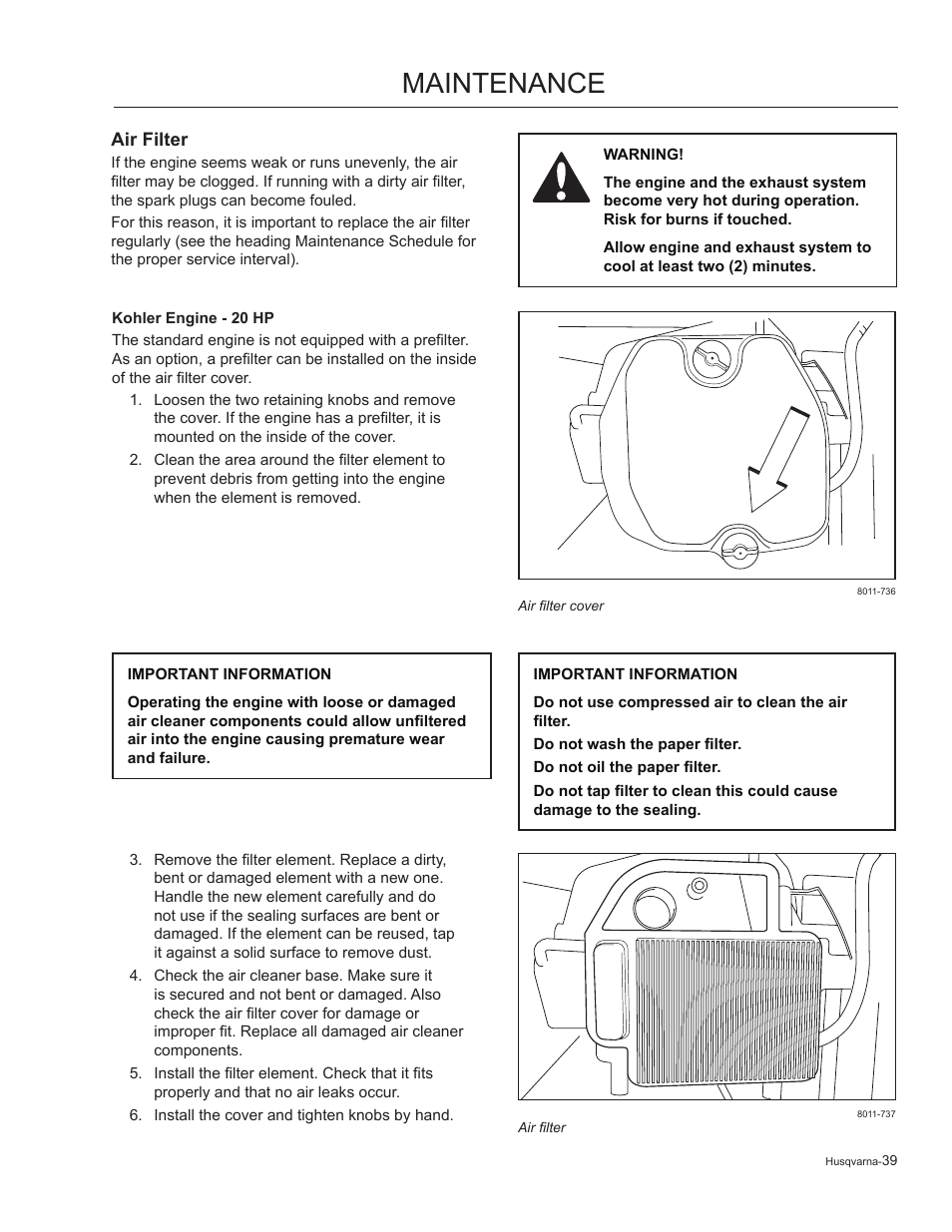 Air filter, Kohler engine - 20 hp, Maintenance | Husqvarna 965881201 User  Manual | Page 39 / 76