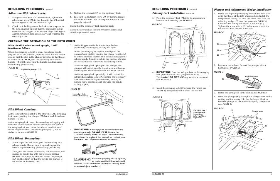 holland fifth wheel adjustment pdf