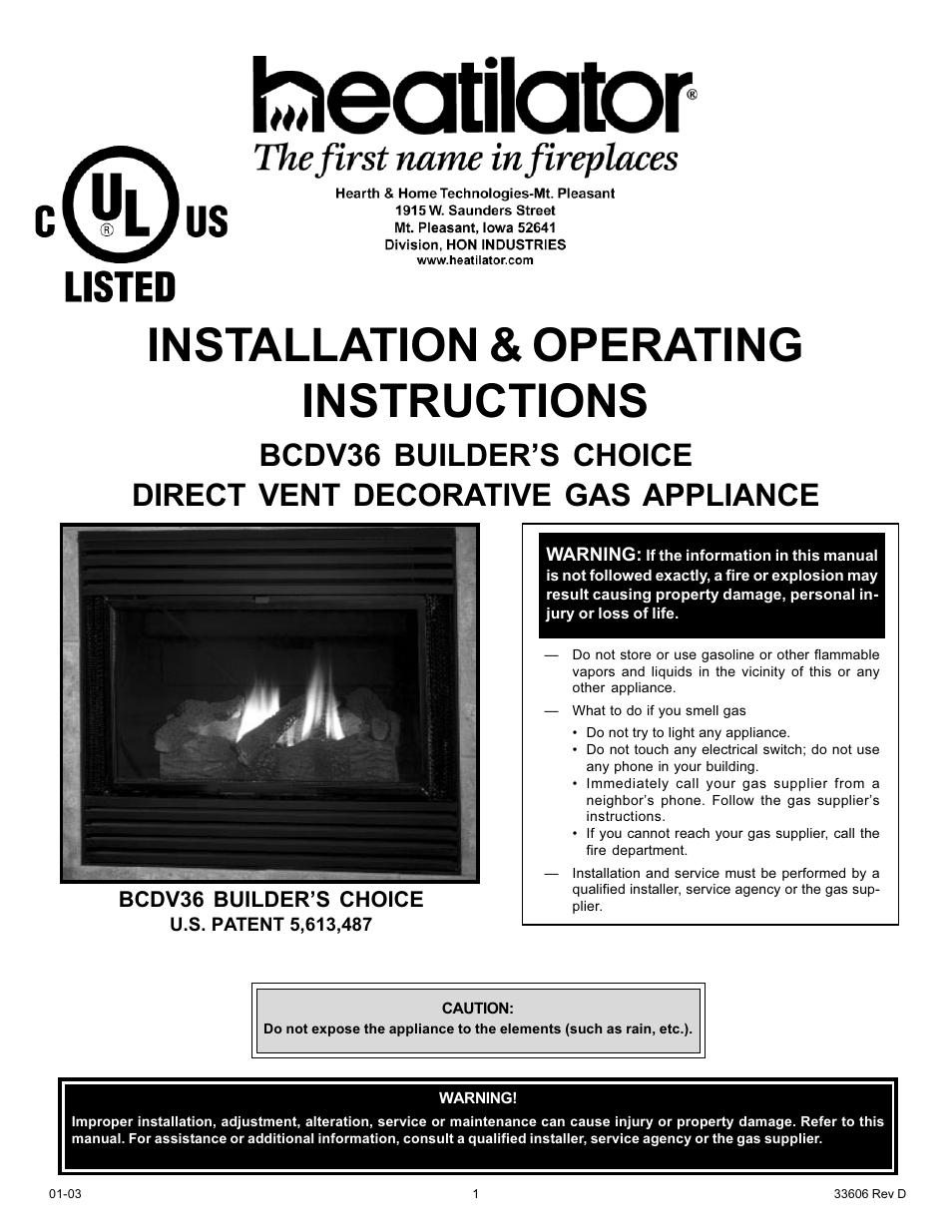 Heatiator Heatilator Bcdv36 User Manual
