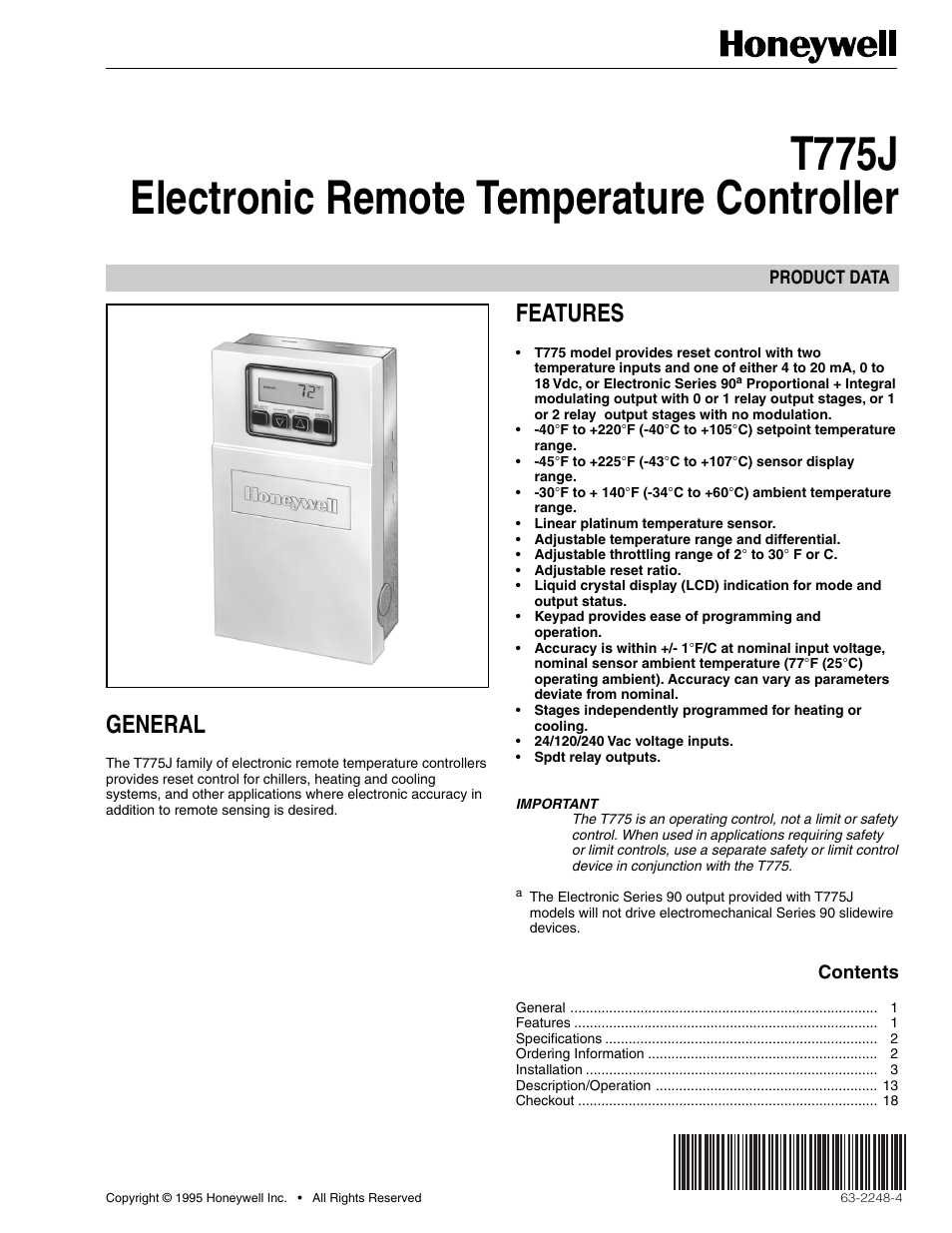 honeywell electronic remote temperature controller t775j user manual rh manualsdir com honeywell t775 series 2000 manual honeywell t775 programming manual