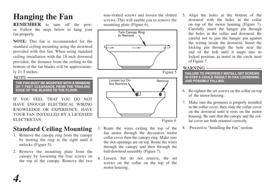 Hanging The Fan Standard Ceiling Mounting Hampton